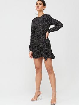 Missguided Missguided Missguided Ruched Button Side Polka Dot Tea Dress -  ... Picture