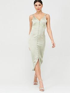 missguided-missguided-satin-lace-self-buttons-midi-dress-green