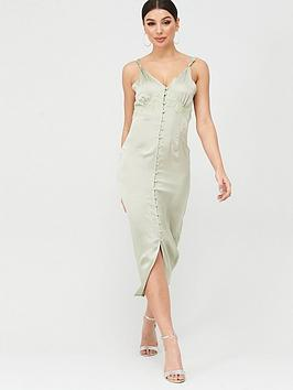 Missguided Missguided Missguided Satin Lace Self Buttons Midi Dress - Green Picture