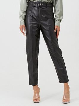 Missguided Missguided Missguided Faux Leather Belted Seam Detail Cigarette  ... Picture