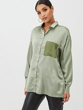 Missguided Missguided Missguided Satin Contrast Pocket Oversized Shirt -  ... Picture