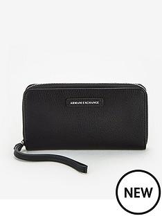 armani-exchange-zip-around-purse-black