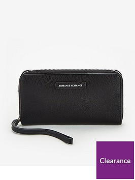 armani-exchange-zip-around-purse-black