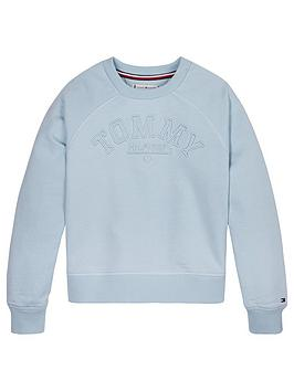 Tommy Hilfiger Tommy Hilfiger Girls Graphic Crew Neck Sweat Top - Pale Blue Picture