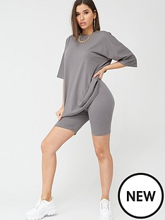 missguided-missguided-oversized-t-shirt-amp-cycling-short-set