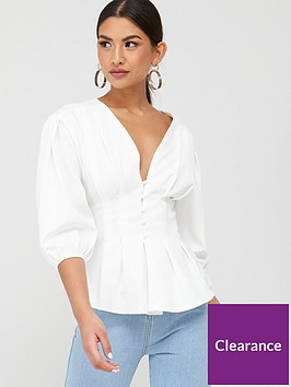 missguided-missguided-plunge-self-button-peplum-top-white
