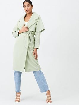 Missguided Missguided Waterfall Coat - Mint