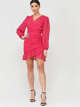 Missguided Missguided Missguided Dobby Mesh Ruched Detail Frill Mini Dress  ... Picture