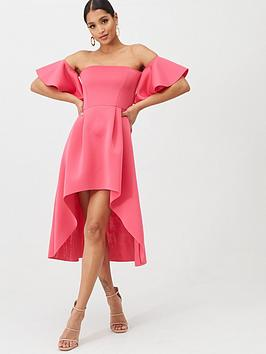 Missguided Missguided Bardot Scuba High Low Midi Dress - Pink