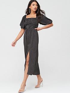missguided-missguided-milkmaid-shirred-bust-midi-polka-dot-dress-black