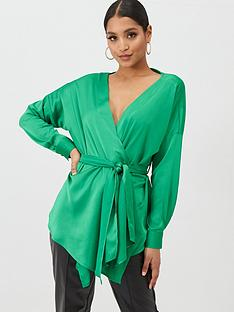 missguided-missguided-belted-long-sleeved-satin-top-green
