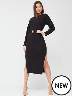 missguided-missguided-rib-long-sleeve-tortoiseshell-belted-midi-dress-black