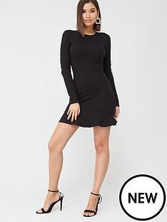missguided-missguided-rib-ruffle-hem-long-sleeve-mini-dress-black