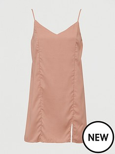 missguided-tie-back-cami-dress-blush