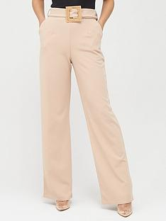 missguided-missguided-stretch-crepe-wooden-belt-straight-leg-trousers-stone