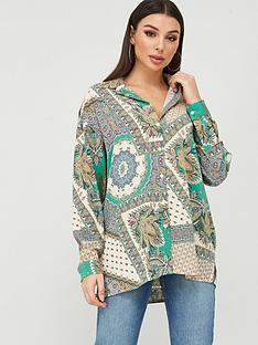 missguided-missguided-scarf-print-oversized-shirt-green