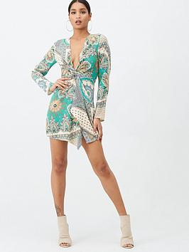 Missguided Missguided Missguided Scarf Print Twist Front Mini Dress - Green Picture