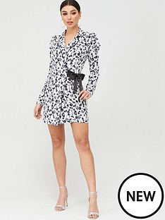 missguided-missguided-floral-wrap-blazer-dress-white