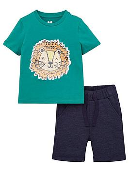 V by Very V By Very Boys Sequin Lion Tee And Short Set - Green Picture