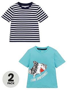 v-by-very-boys-2-pack-flippy-sequin-shark-and-stripednbspshort-sleeve-t-shirtsnbsp--multi