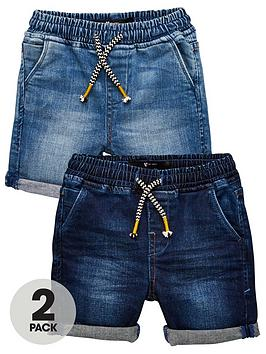 v-by-very-toddlernbspboys-2-pack-denim-jog-waistband-shorts-multi