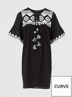 v-by-very-curve-embroidered-tassel-dress-blackwhite