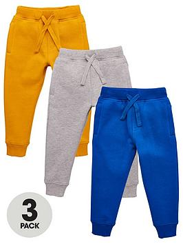 V by Very V By Very Boys Essential 3 Pack Joggers - Grey Marl/Ochre/Cobalt Picture