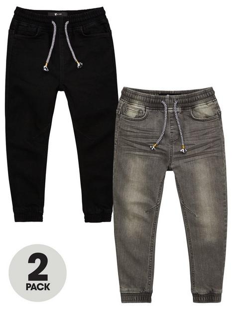 v-by-very-boys-2-pack-pull-on-carrot-fit-jeans-black