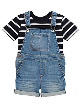 V by Very V By Very Boys Tee And Denim Dungaree Set - Blue Picture