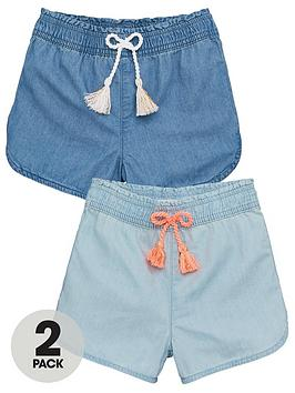 V by Very V By Very Girls Chambray Shorts (2 Pack) - Multi Picture
