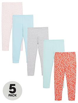 V by Very V By Very Girls 5 Pack Leggings - Multi Picture