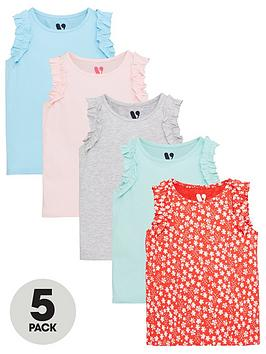V by Very V By Very Girls 5 Pack Frill Vests - Multi Picture