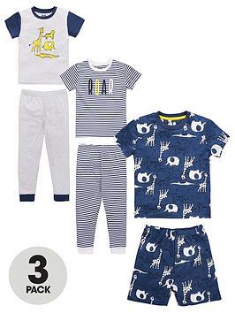 V by Very V By Very Boys 3 Pack Jungle Pyjamas - Multi Picture