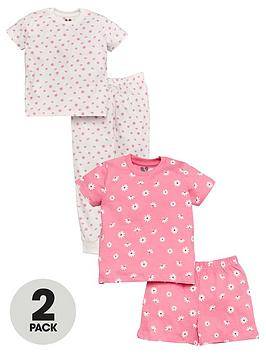 V by Very V By Very Girls 2 Pack Neon Floral Pyjamas - Multi Picture