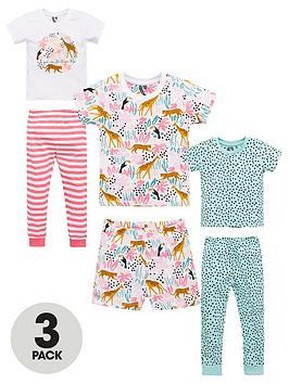 V by Very V By Very Girls 3 Pack Jungle Pyjamas - Multi