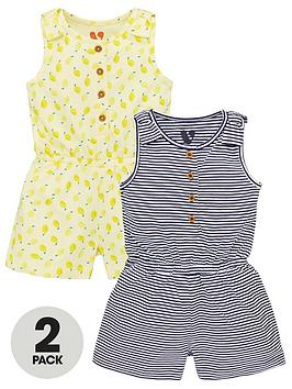 V by Very V By Very Girls 2 Pack Jersey Playsuits - Multi Picture