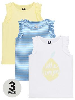 V by Very V By Very Girls 3 Pack Lemon Print Ruffle Vests - Multi Picture