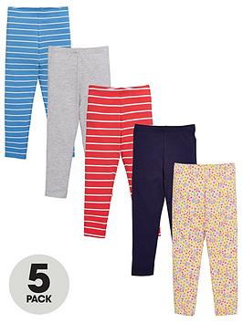 V by Very V By Very Girls Stripe Leggings (5 Pack) - Multi Picture