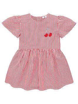V by Very V By Very Girls Frill Sleeve Cherry Smock Dress - White Picture