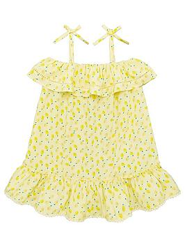 V by Very V By Very Girls Lemon Print Frill Detail Dress - Yellow Picture