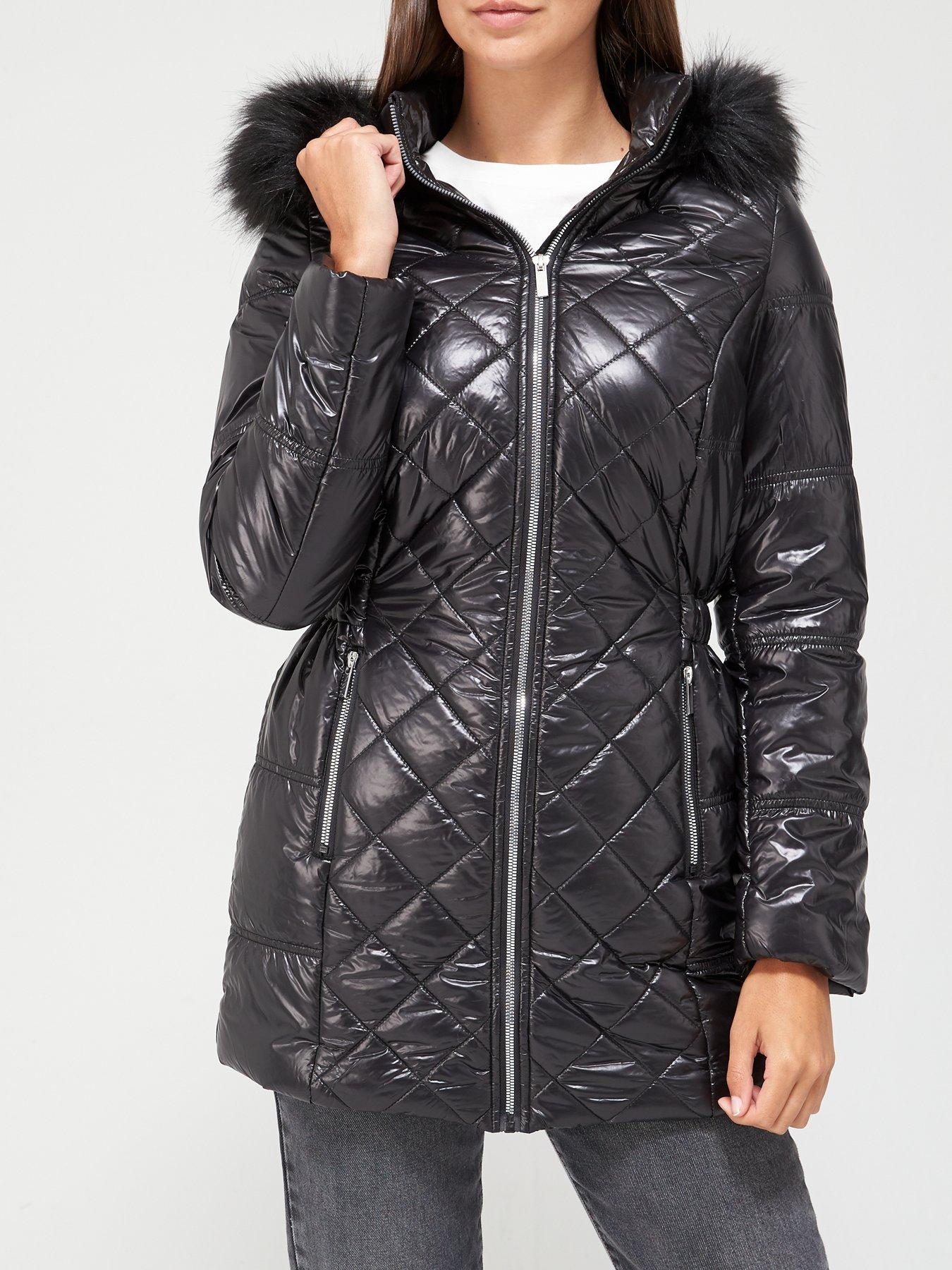Black Friday Women Coats V by Very Curve Faux Fur Cuff Coat