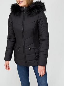v-by-very-valuenbspshort-padded-jacket-withnbspfaux-fur-trim-black