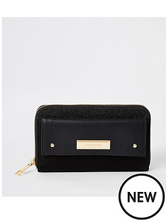 river-island-river-island-pocket-front-zip-around-purse-black