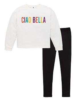 V by Very V By Very Girls 'Ciao Bella' Sweatshirt And Legging  ... Picture