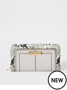 river-island-river-island-snake-edge-ziparound-purse-light-grey