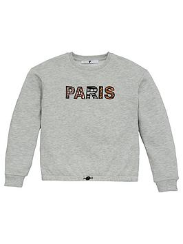 V by Very V By Very Girls Paris Animal Print Detail Sweatshirt - Grey Picture