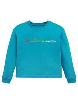 V by Very V By Very Girls 'Kinda Cool' Rainbow Slogan Sweatshirt  ... Picture