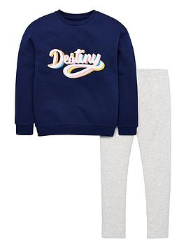 V by Very V By Very Girls 'Destiny' Sweat And Legging Set - Multi Picture