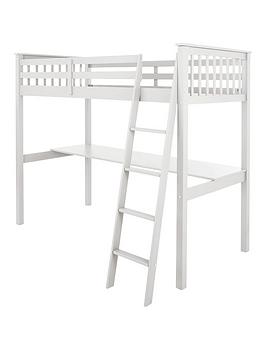 Very Novara High Sleeper With Desk - White Picture