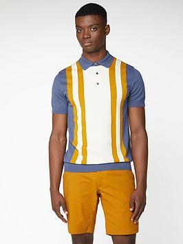 Ben Sherman Ben Sherman Colour Block Knitted Polo Shirt - Light Indigo Picture